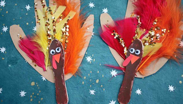 Scoop Stick & Handprint Turkey Puppets {Kid Craft}