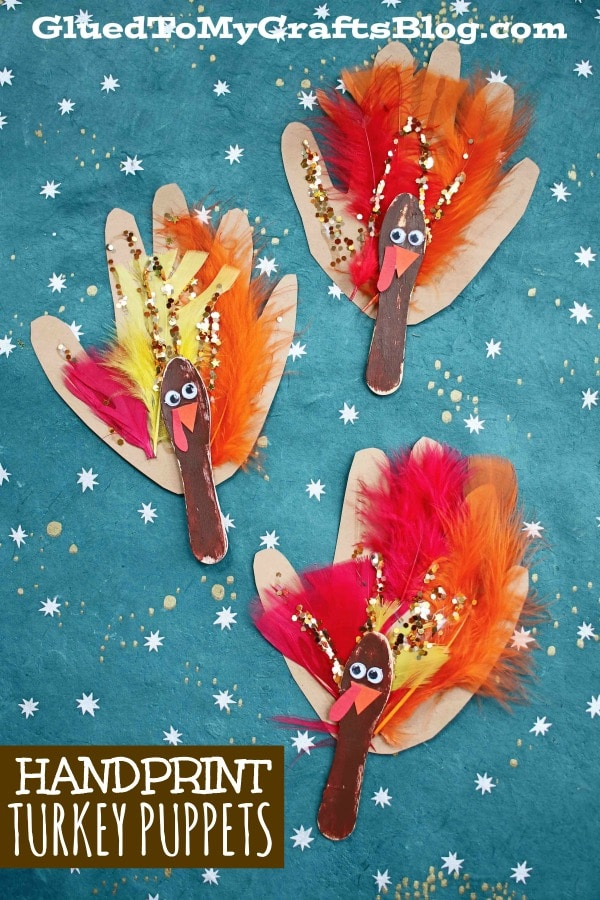 Scoop Stick & Handprint Turkey Puppets {Kid Craft}