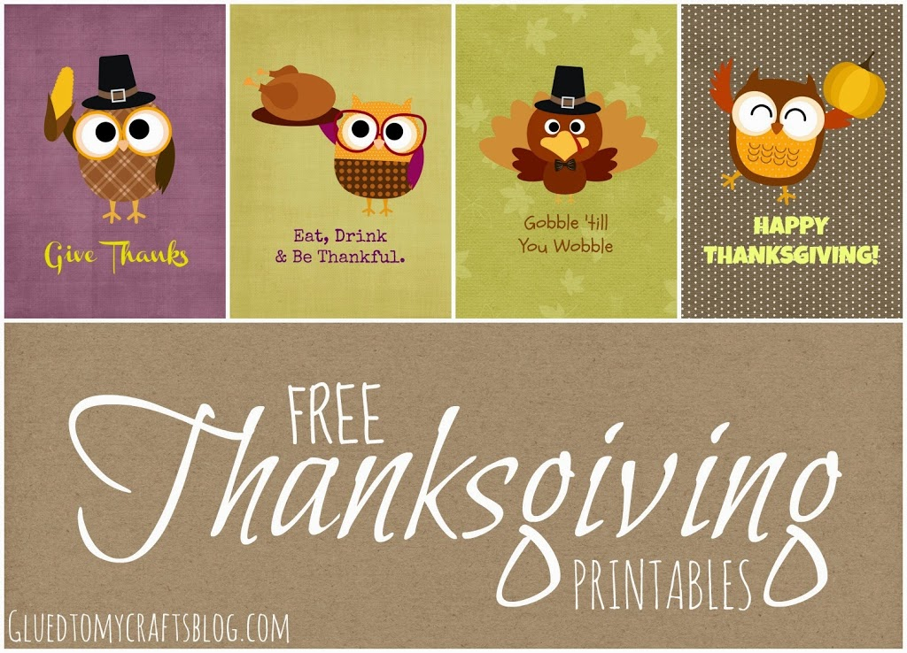 Free Give Thanks Owl Thanksgiving Printables