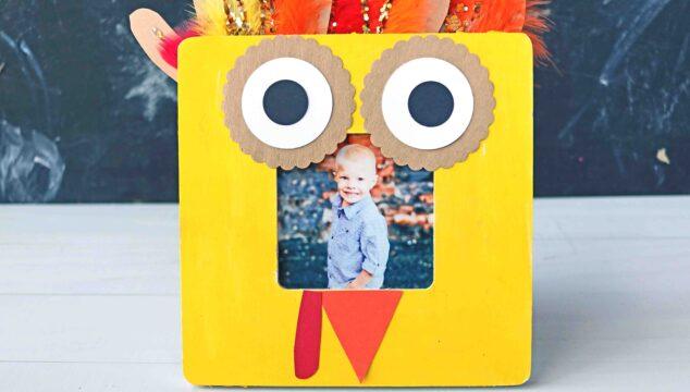 Handprint Turkey Wooden Frame - Thanksgiving Kid Craft