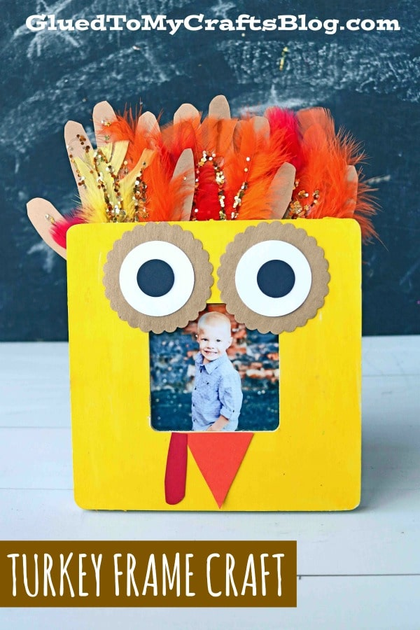 Handprint Turkey Wooden Frame - Thanksgiving Kid Craft