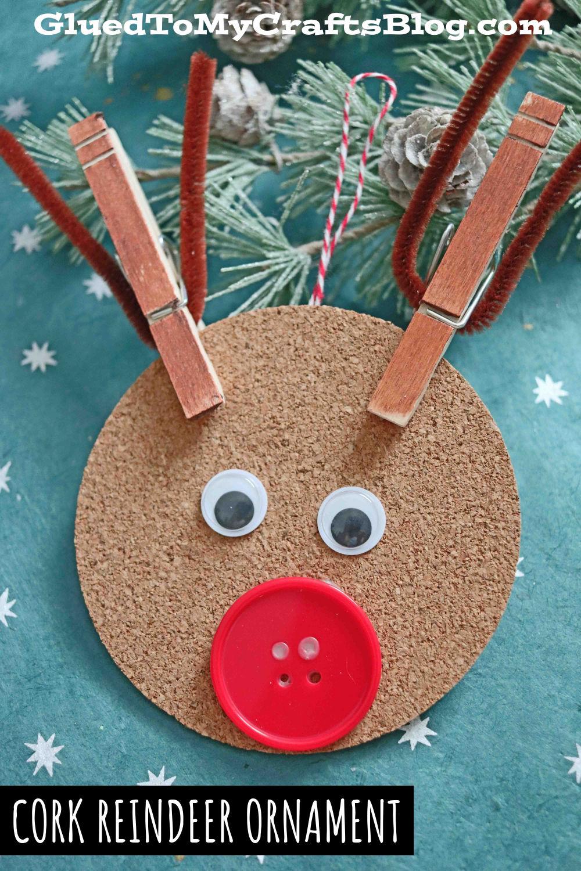 DIY Cork Reindeer Ornament For The Christmas Tree