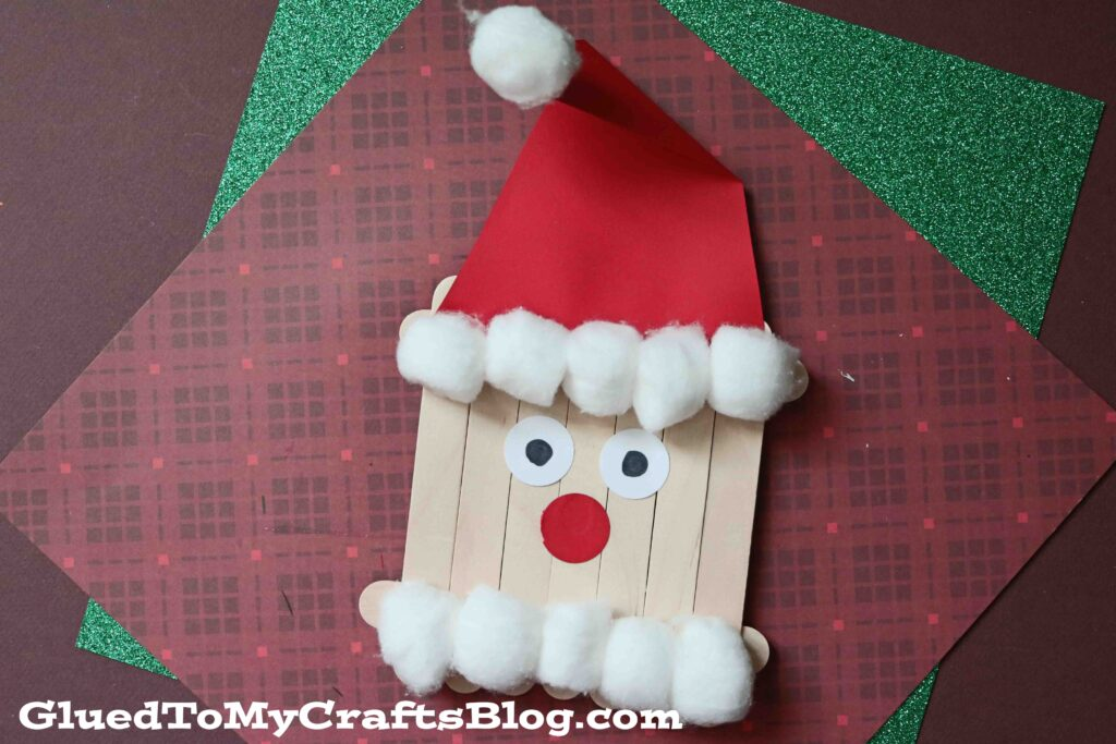 Cotton Ball & Popsicle Stick Santa - Christmas Kid Craft Idea