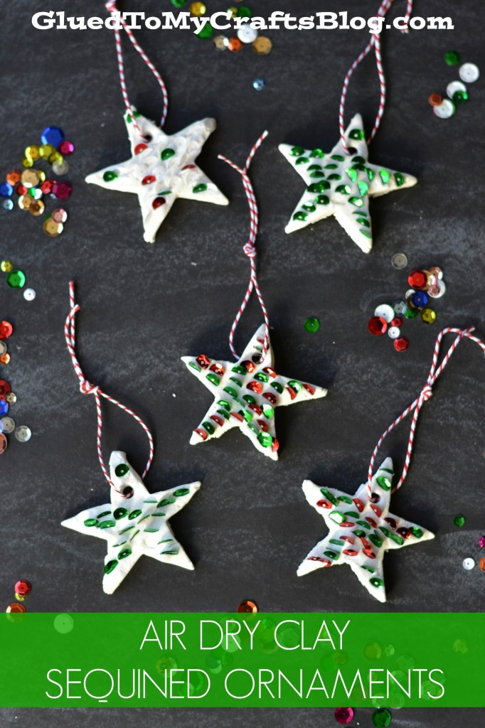 Air Dry Clay Sequined Christmas Ornaments For Kids To Make