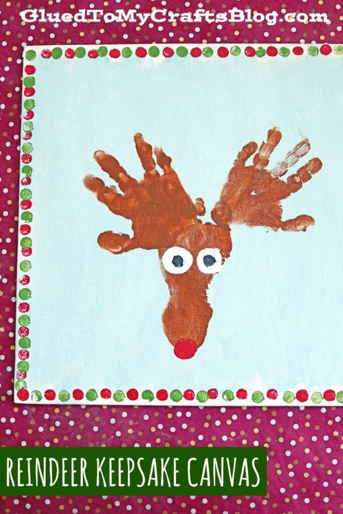 Handprint & Footprint Reindeer Keepsake Canvas