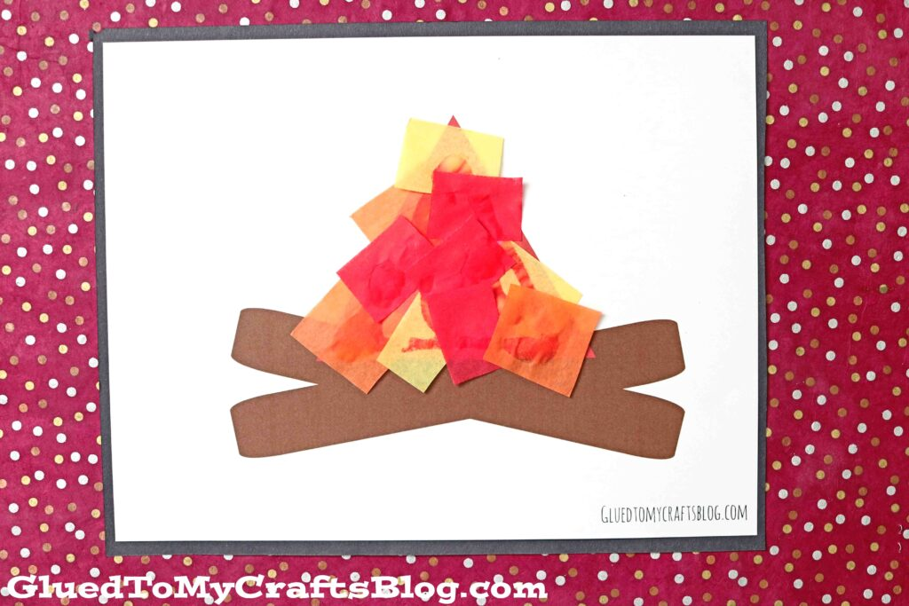 Tissue Paper Campfire - Kid Craft Idea For Summer w/free printable