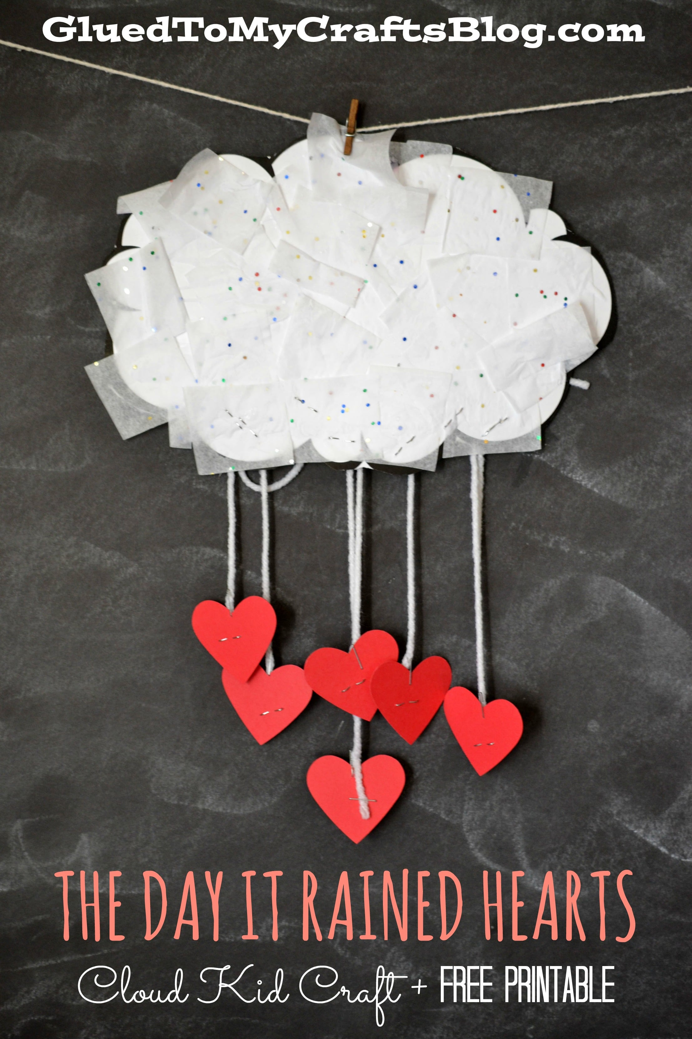 tissue paper covered cloud with raining hearts