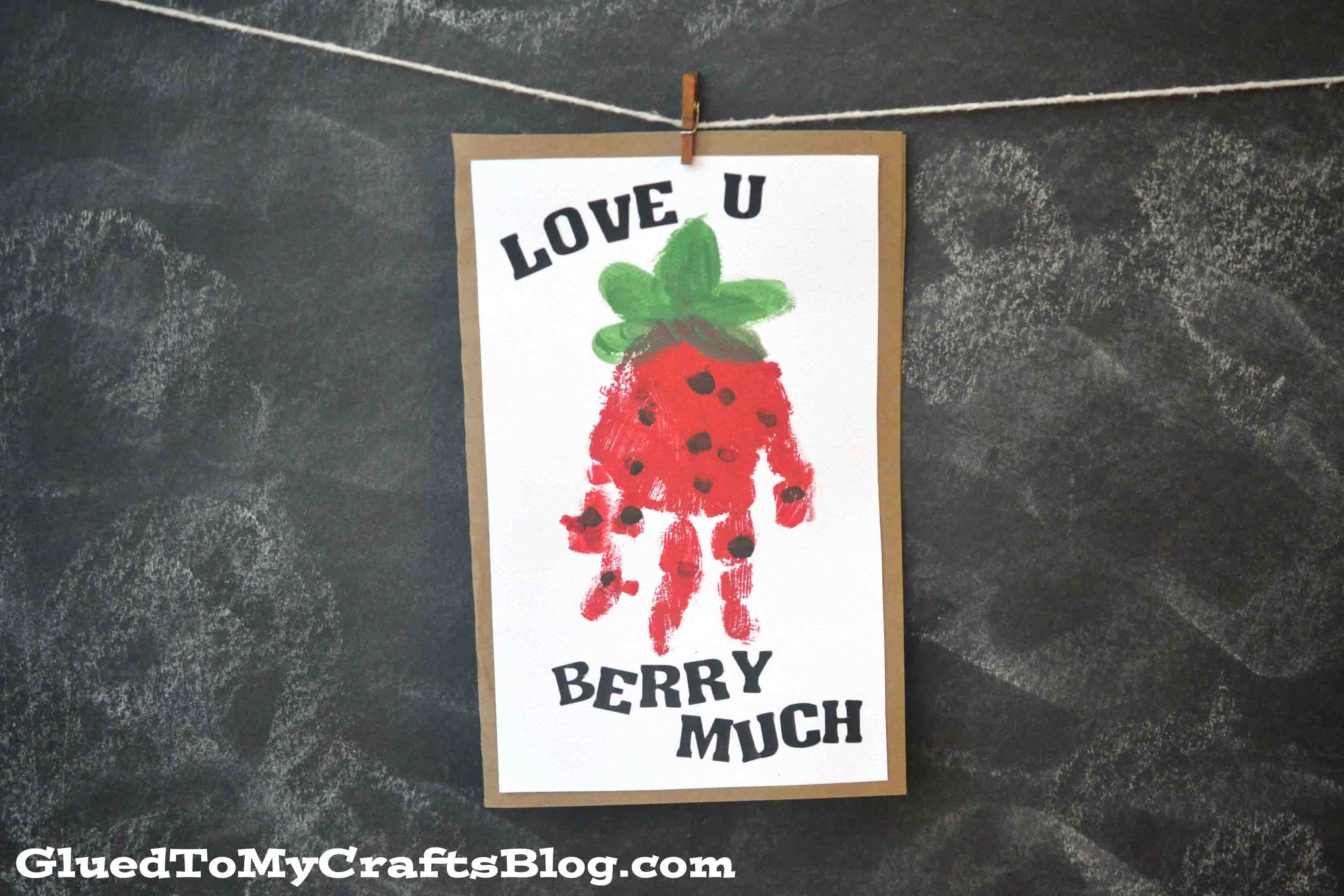 """Berry Much"" Valentine Handprint Card Idea"