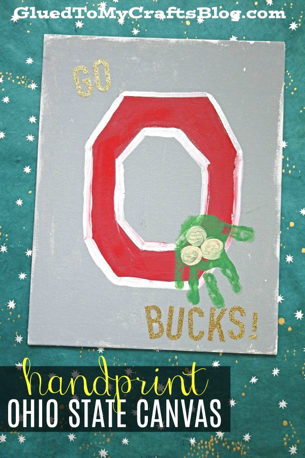 Handprint Ohio State Buckeye Canvas