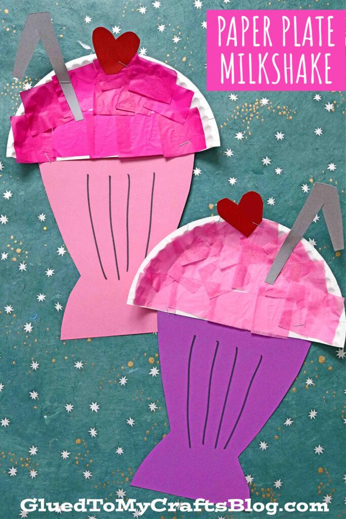 Paper Plate Milkshake - Kid Craft Idea For Valentine's Day