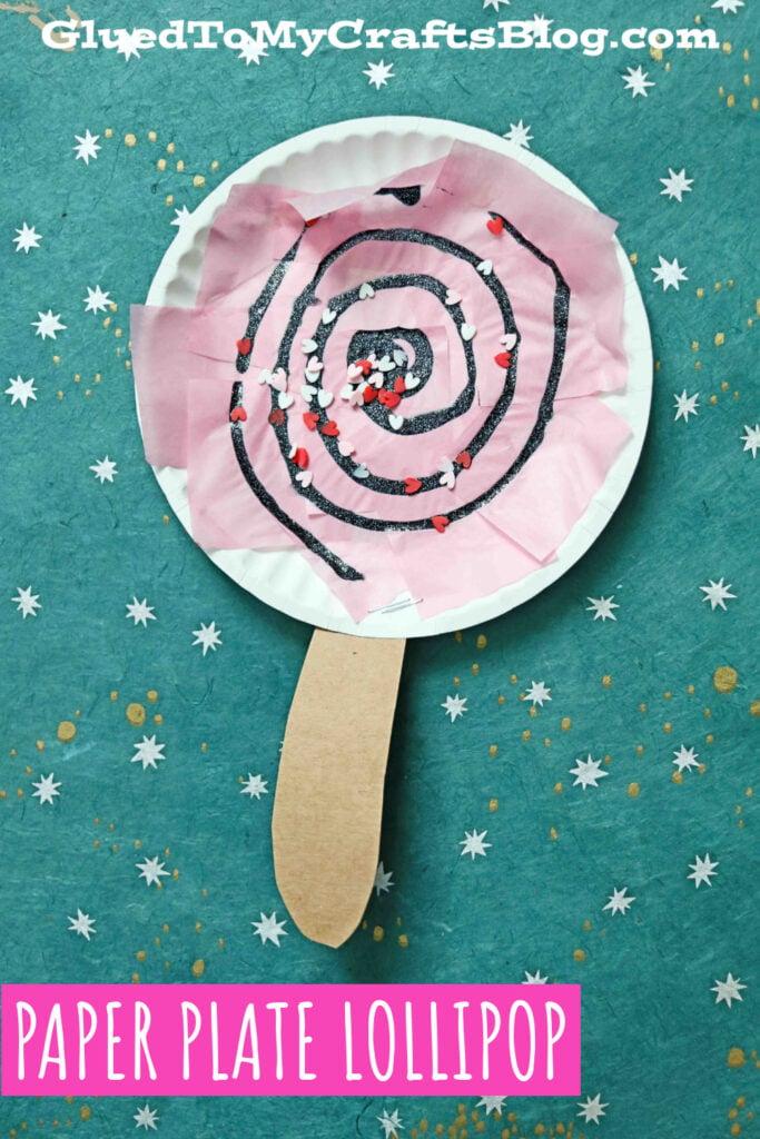How To Make A Paper Plate Valentine Lollipop - Kid Craft Idea