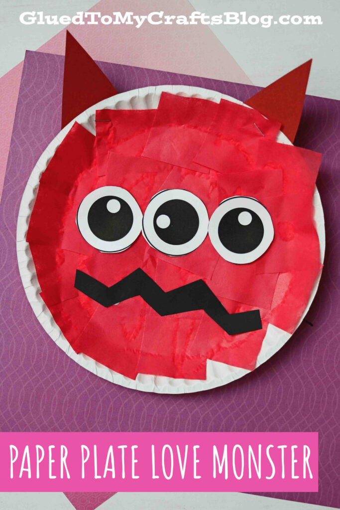 Paper Plate Love Monster - Kid Craft Idea For Valentine's Day