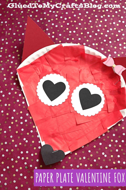 Paper Plate Valentine Fox - Kid Craft Idea For Valentine's Day