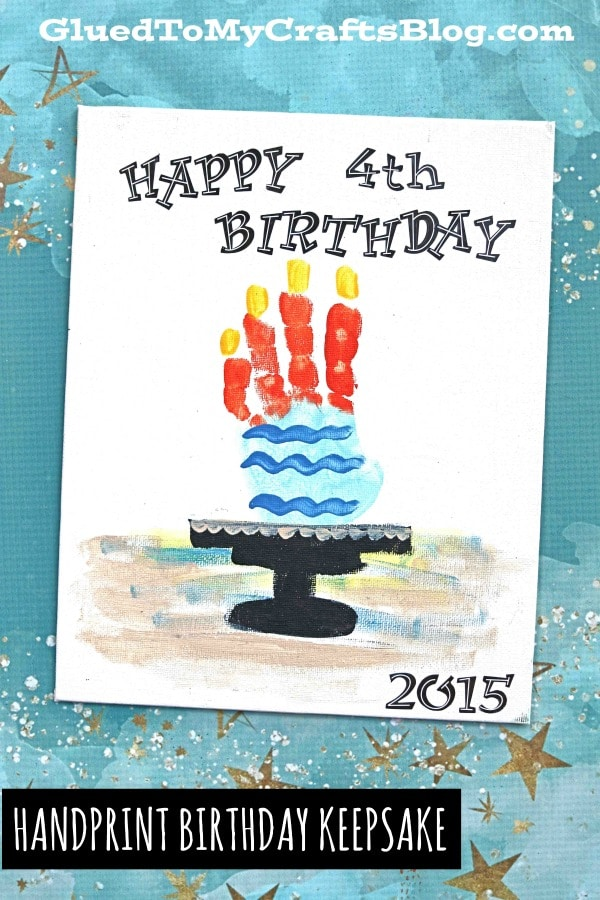 Birthday Cake Handprint - Keepsake Canvas Idea
