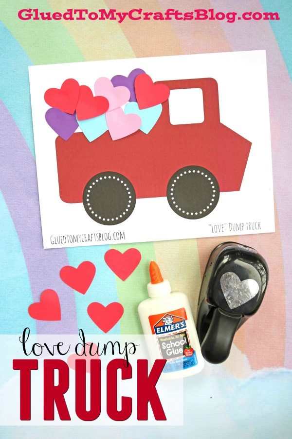 Paper Heart Filled Valentine Love Dump Truck Craft For Kids