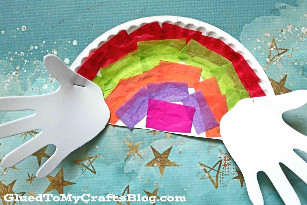 Handprint Cloud & Tissue Paper Rainbow Craft For Kids