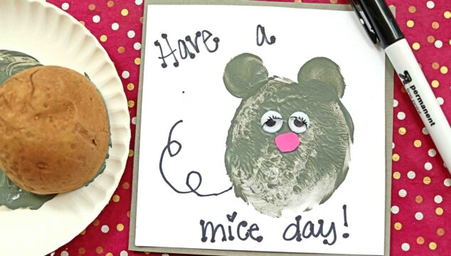 Potato Stamped Mouse Card - Kid Craft Idea