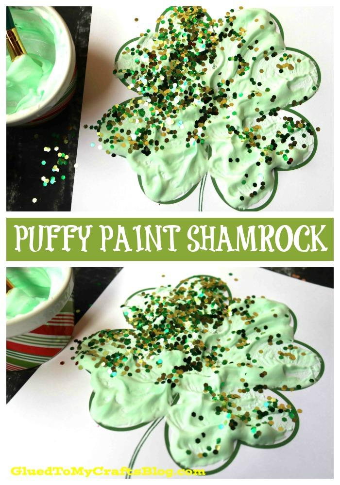 Puffy Paint Shamrock - Kid Craft Idea + Free Printable