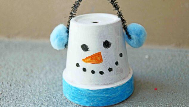 Terra Cotta Pot Snowman - Kid Craft Idea For Winter