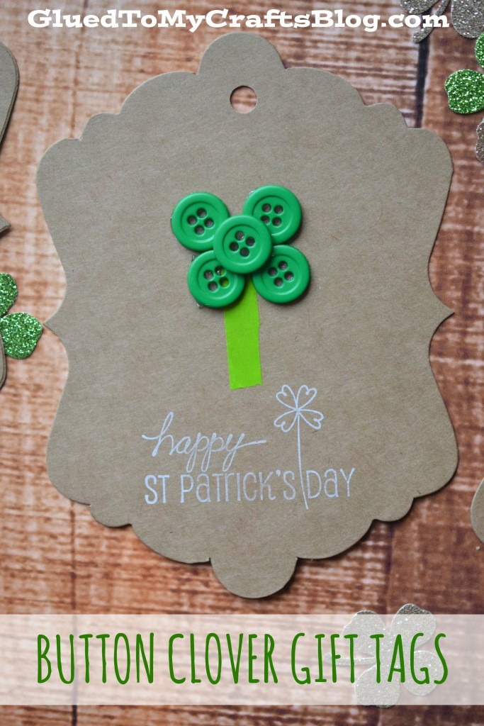 DIY Saint Patrick's Day Button Clover Gift Tags Craft Idea