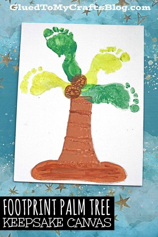 Painted Footprint Palm Tree Canvas - Kid Craft Idea