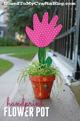 Handprint Flower In Terra Cotta Pot - Kid Craft Idea