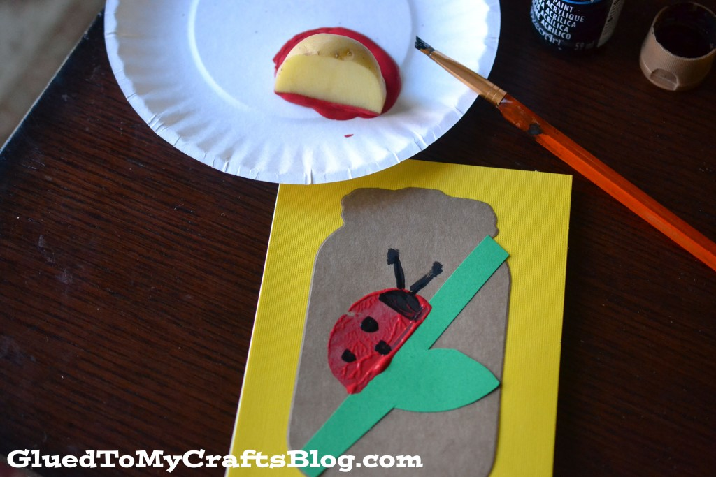Potato Stamped Ladybug Cards