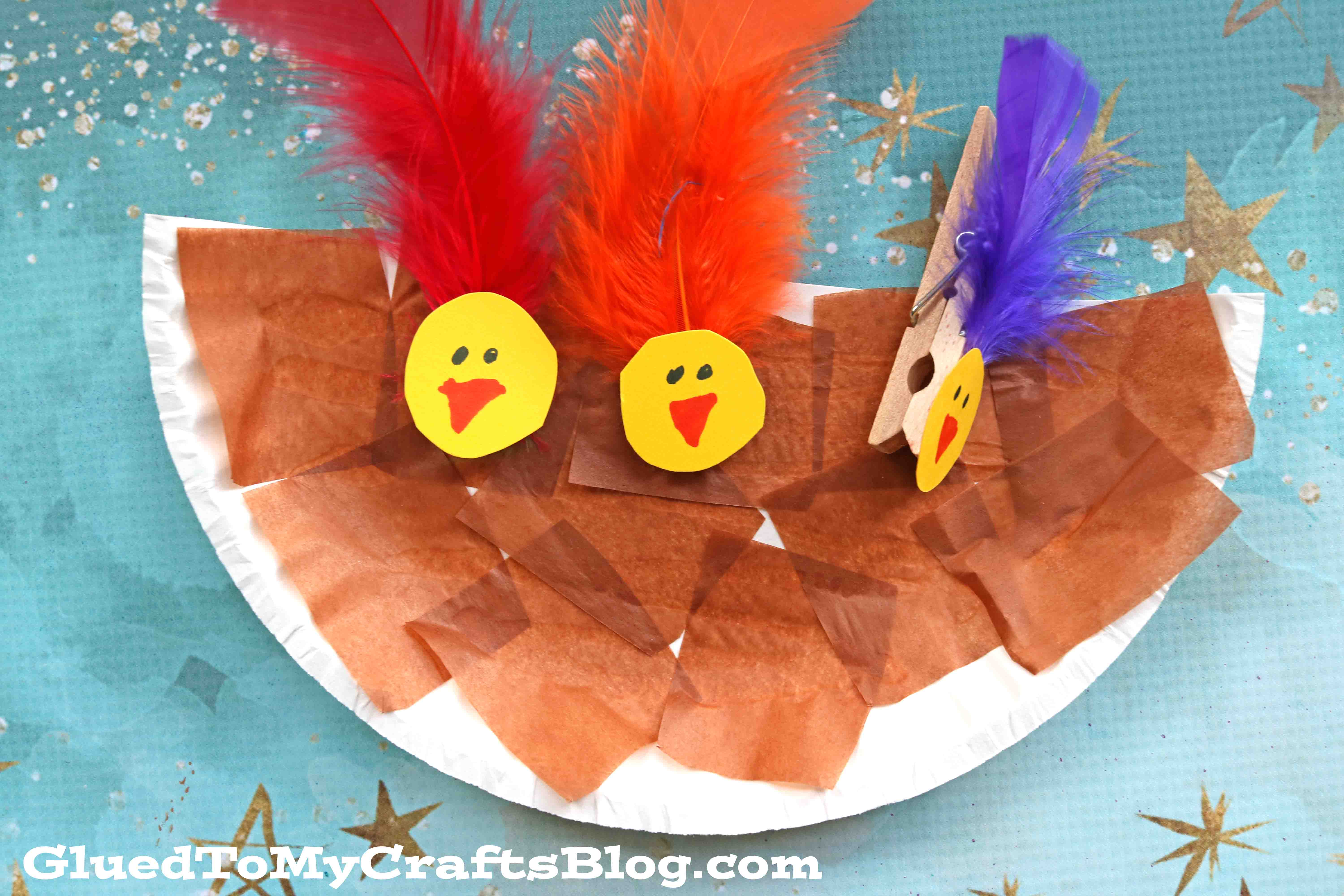 Paper Plate and Clothespin Bird Nest - Kid Craft