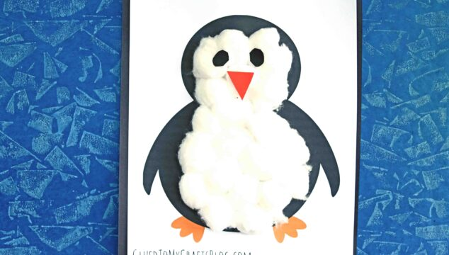 White Cotton Ball Penguin - Kid Craft Tutorial w/Free Printable