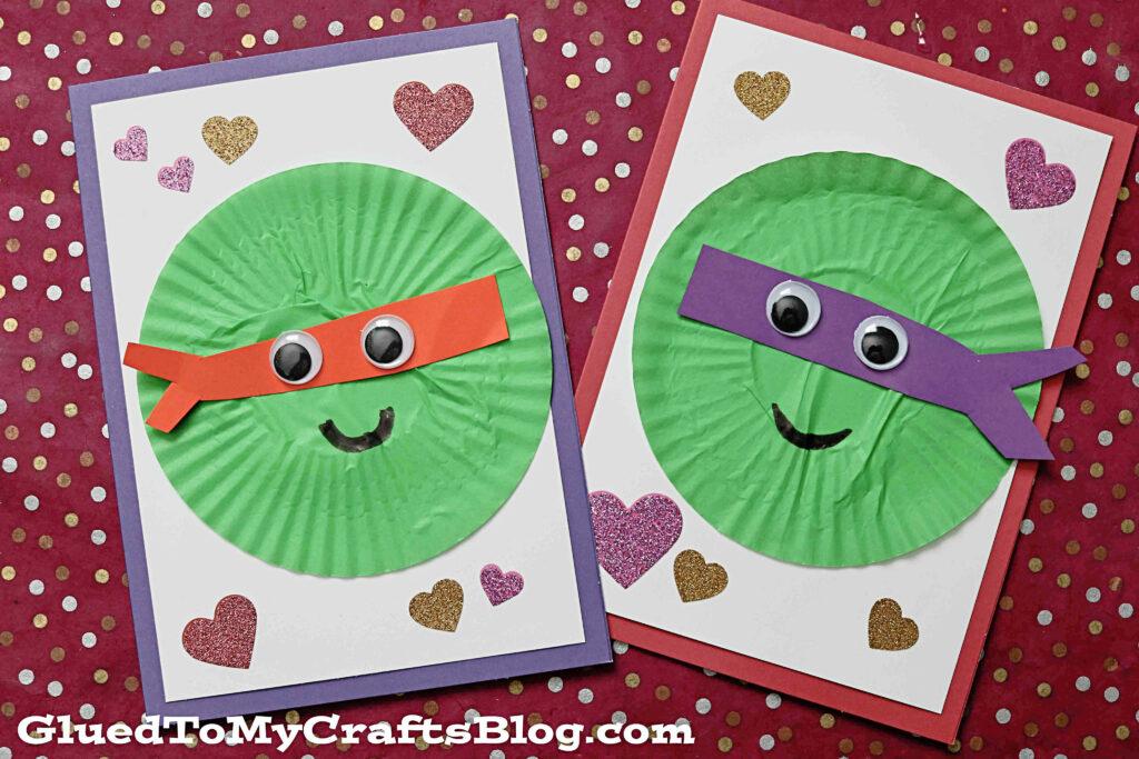 Cupcake Liner Ninja Turtles Card - Kid Craft Idea