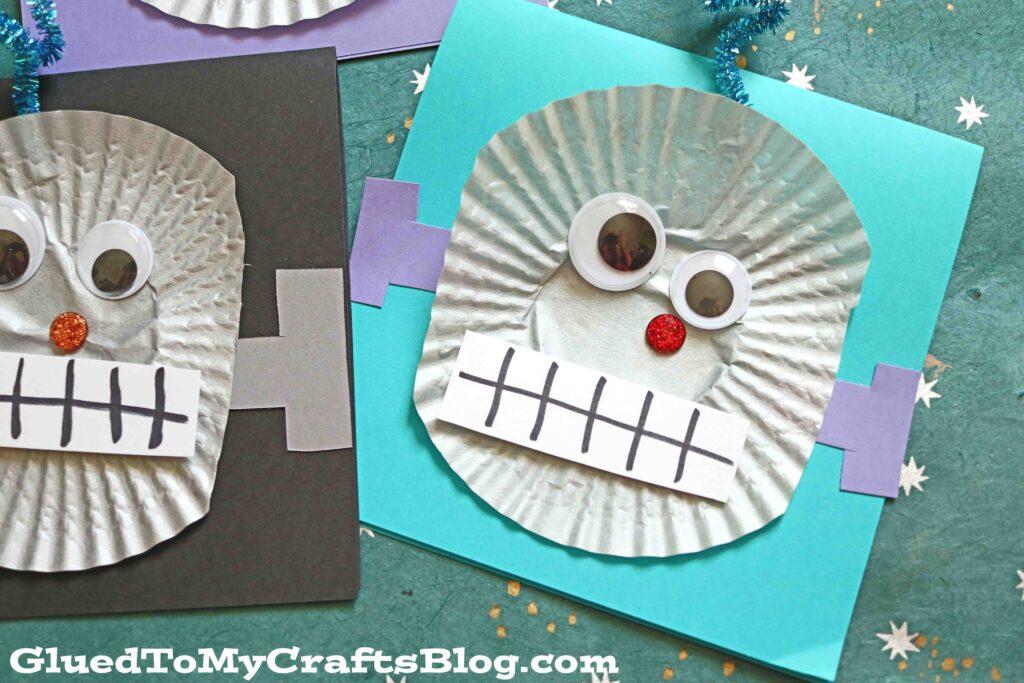 Cupcake Liner Robot Cards - Kid Craft Idea
