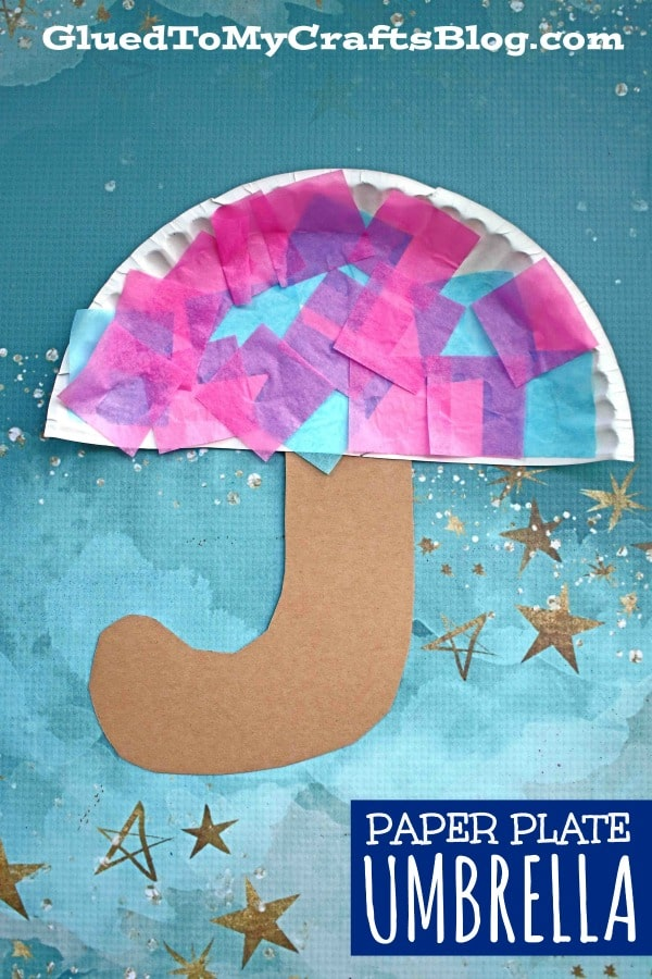 Paper Plate Umbrella - Kid Craft Idea For A Rainy Day