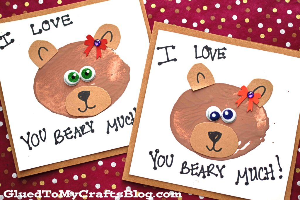 Potato Stamped Bear Themed Cards - Kid Craft Idea
