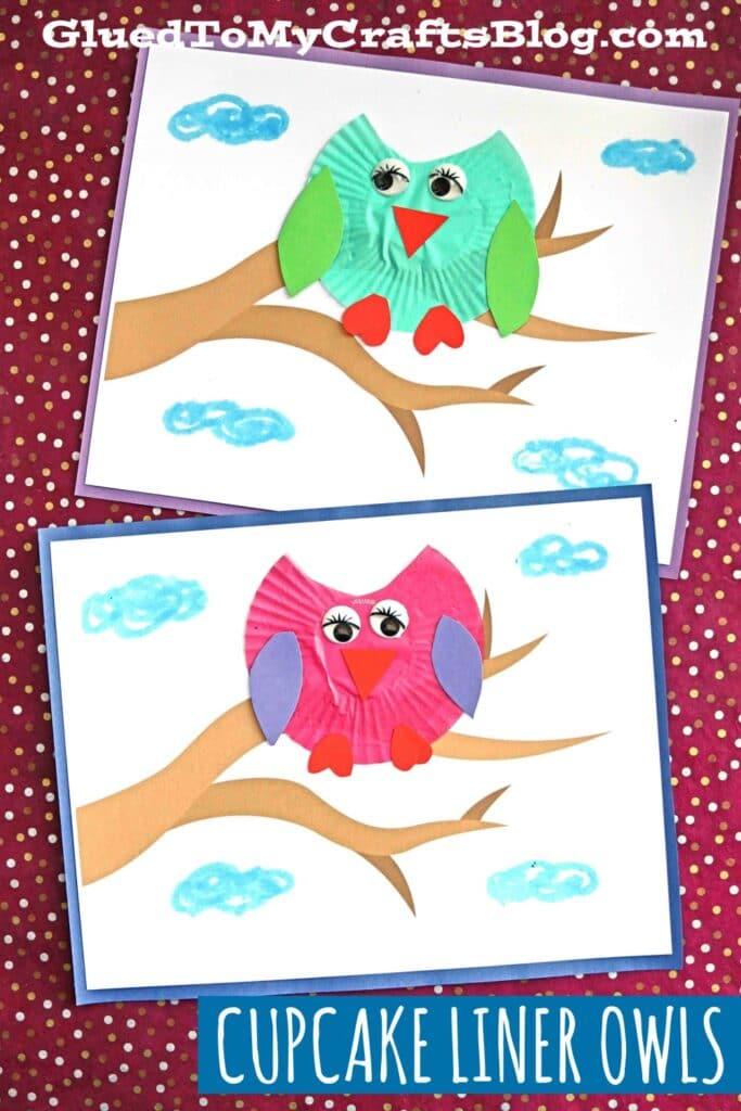 Cupcake Liner Owl On Branch - Paper Kid Craft Idea
