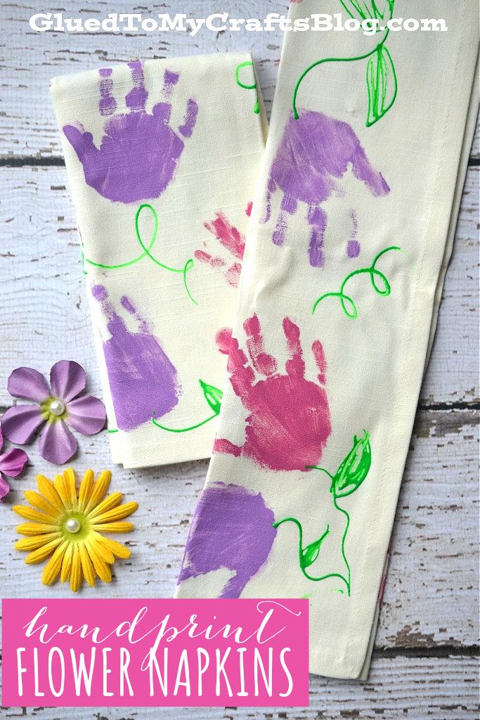 Handmade Handprint Flower Napkins - Gift Idea For Mother's Day