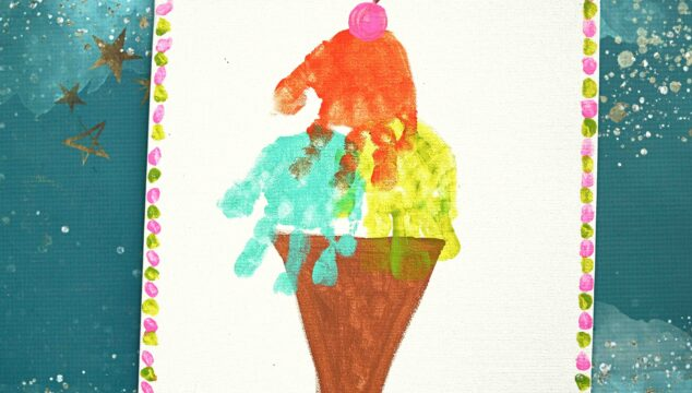 Handprint Ice Cream Keepsake Canvas For Kids To Make!