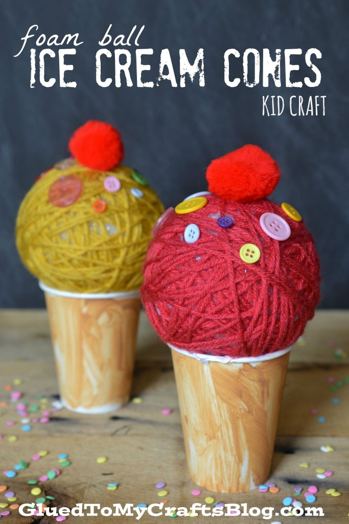 Foam Ball & Paper Cup Ice Cream Craft