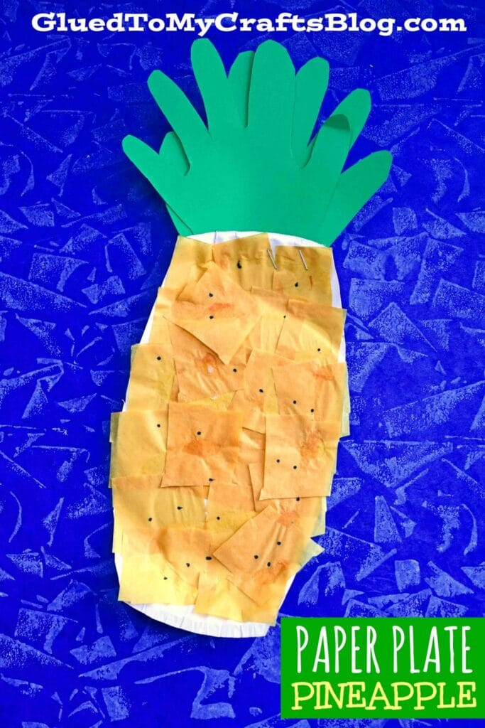 Paper Plate Pineapple - Kid Craft Idea w/Handprint Cutouts!