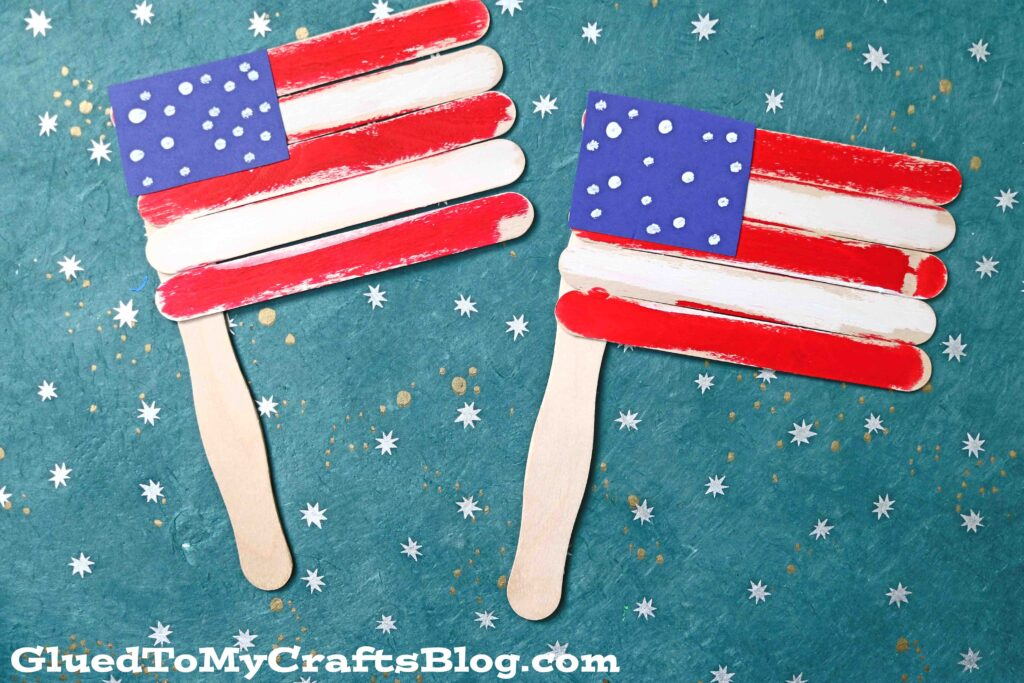Super Quick Popsicle Stick Flags - Patriotic Kid Craft Tutorial
