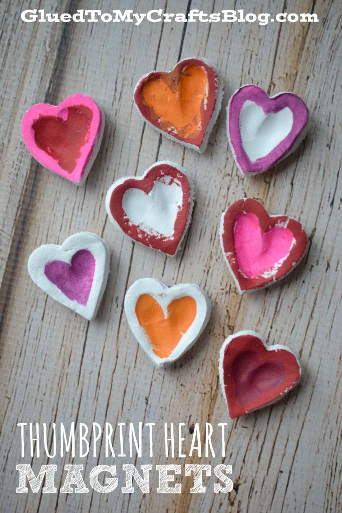Thumbprint Heart Magnets For Valentine's Day or Mother's Day