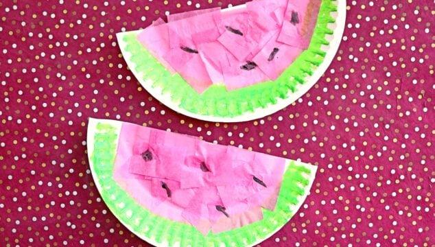 Tissue Paper & Paper Plate Watermelon - Kid Craft Idea