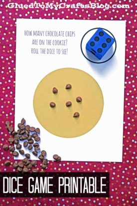 Chocolate Chip Cookie Dice Game Printable
