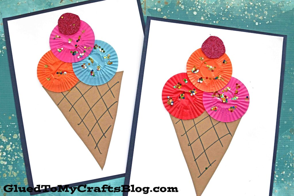 Cupcake Liner Ice Cream - Kid Craft Idea For Summer