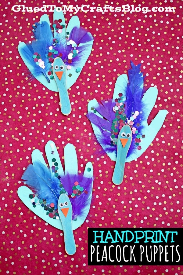 Scoop Stick Peacock Puppet Craft Idea For Kids