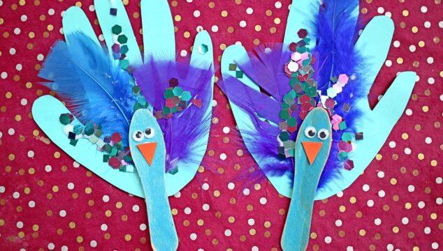 Scoop Stick Handprint Peacock Puppet - Kid Craft