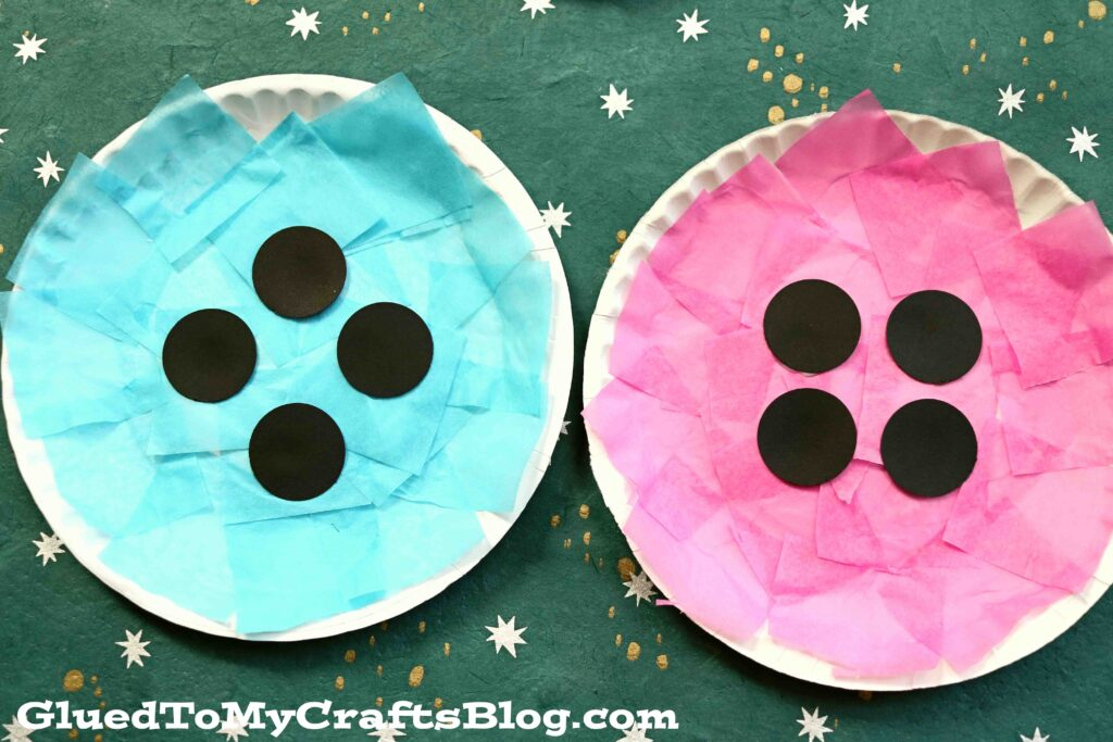 Tissue Paper & Paper Plate Button - Kid Craft