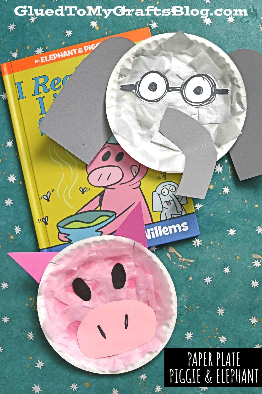 Paper Plate Elephant & Piggie - Kid Craft