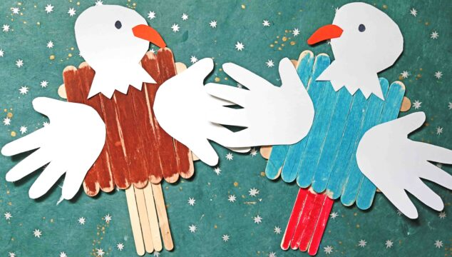 Popsicle Stick Bald Eagle - Patriotic Kid Craft Idea For 4th of July