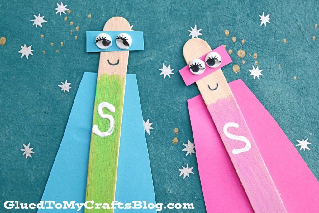 Craft Stick Superhero Puppet - Kid Craft Idea