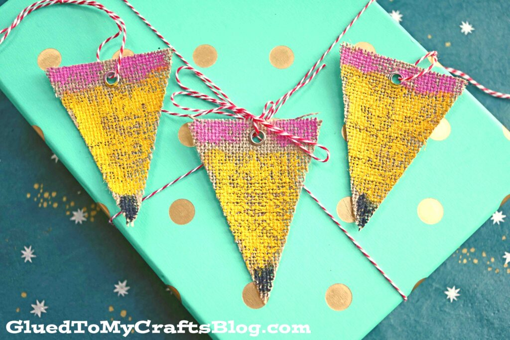 DIY Painted Burlap Pencil Gift Tags - Back To School Gift